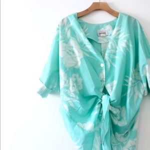 Vtg Turquoise Tropical Floral Oversized Shirt XL
